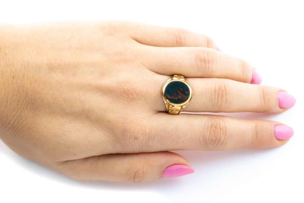 RESERVED Victorian Solid 18ct Gold Signet Ring with Bloodstone