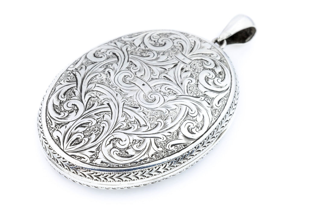 Perfect Sterling Silver Victorian Locket with Buckle Motif - Engraved Back and Front