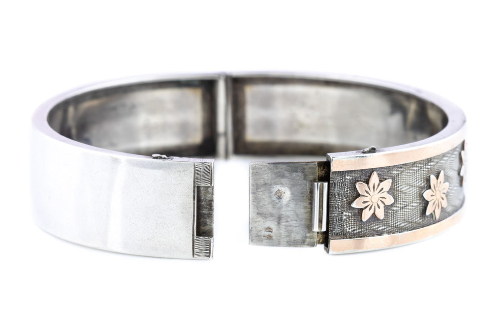 Victorian Silver Bangle with 9ct Rose Gold Flowers