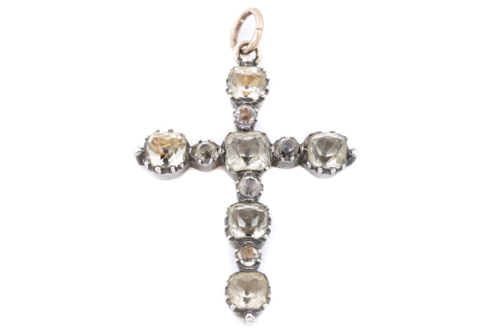 Georgian Cross Pendant with Rock Crystal set in Silver & Gold
