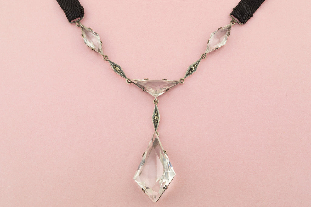 Art Deco Paste and Marcasite Flapper Necklace with Ribbon