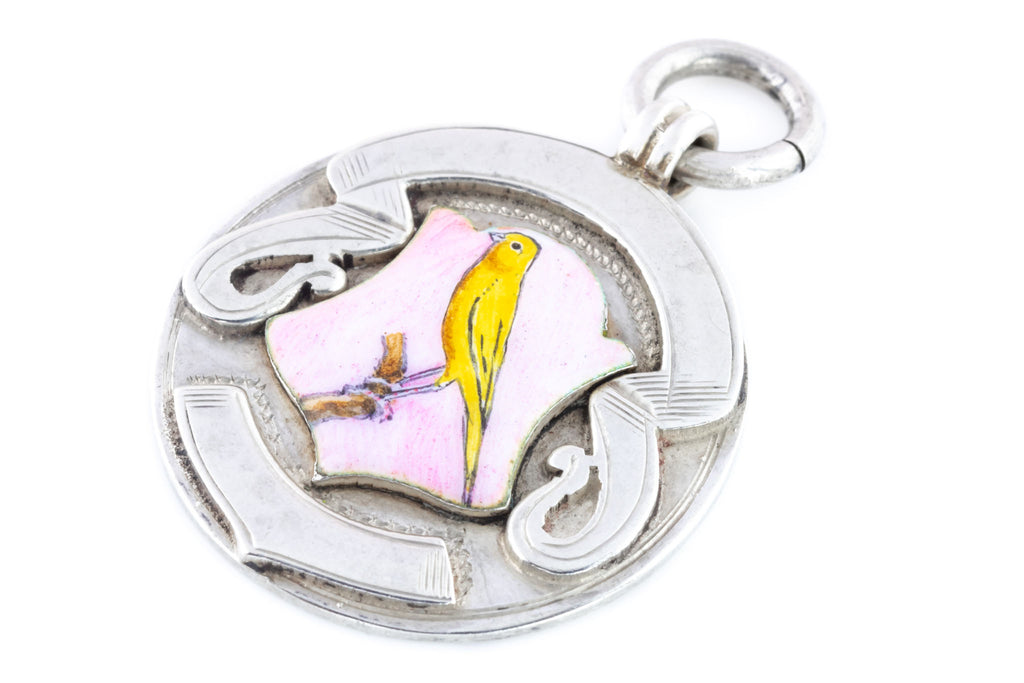 Antique Silver Medal Pendant with Yellow Canary Enamel Crest