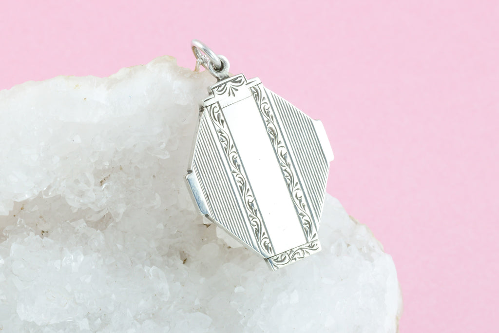 Art Deco Silver Locket with Chain