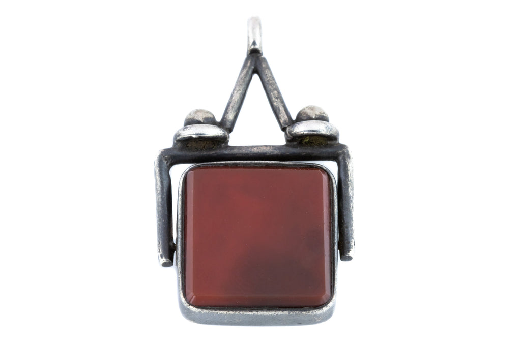 Victorian Silver Spinner Fob Pendant with Carnelian and Bloodstone