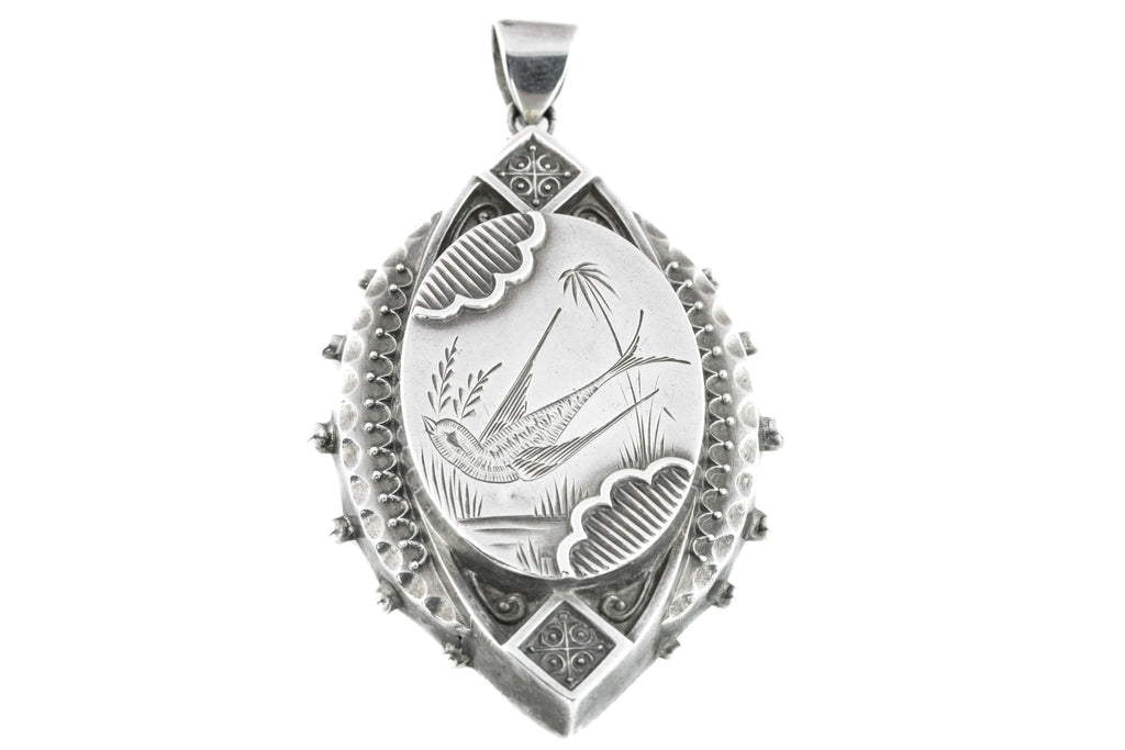 Victorian Aesthetic Marquise Silver Locket