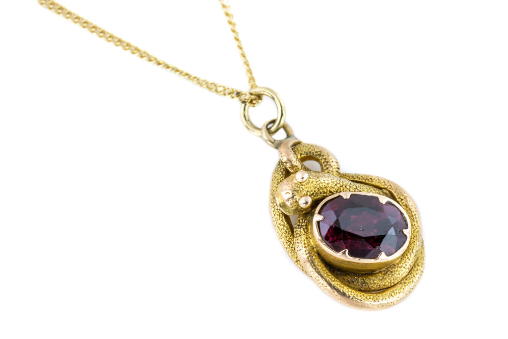 18ct Gold Georgian Garnet Snake Charm with Chain c.1820
