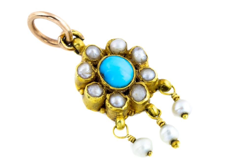 Victorian Turquoise and Pearl Charm Pendant