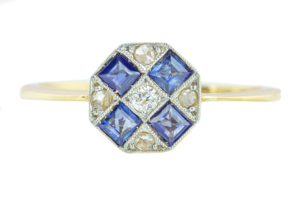 Art Deco Sapphire and Diamond Chequerboard Ring in 18ct Gold