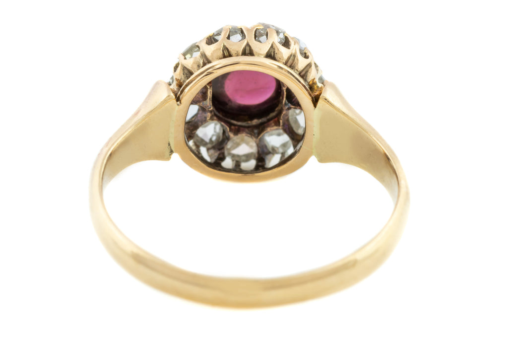 ON HOLD Victorian Garnet and Diamond Cluster Ring (PLUS RESIZING TO A R)