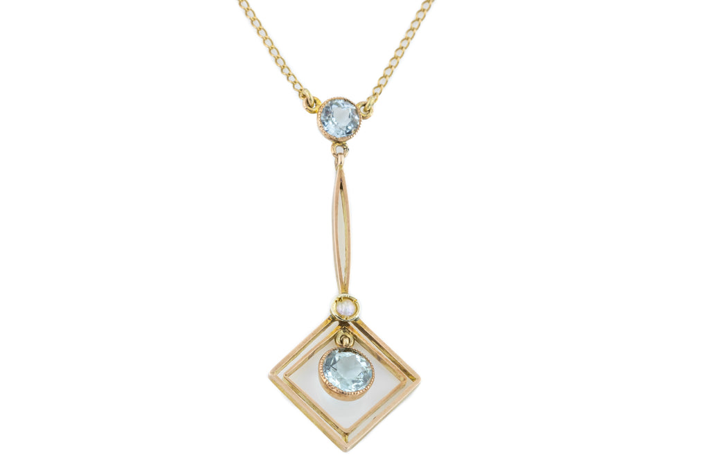 "Antique Aquamarine and Pearl 9ct Gold Pendant, 18"" c.1900"