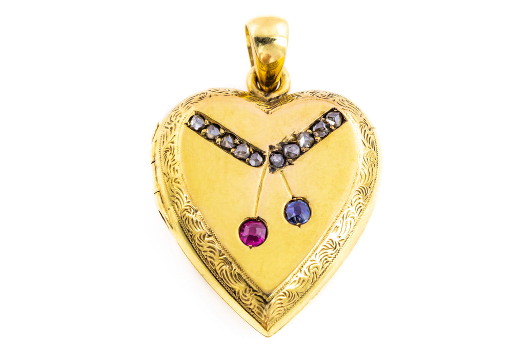 RESERVED! -Antique 15ct Gold Heart Locket with Ruby Sapphire and Diamond -c.1900