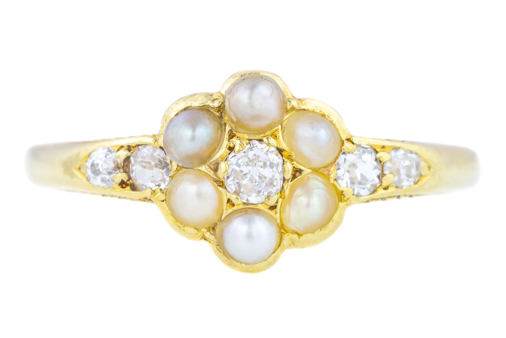 Victorian Pearl & Diamond Cluster Ring c.1890