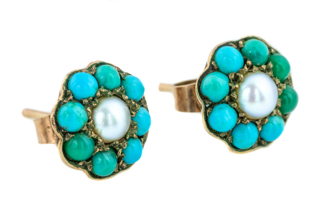 Victorian Pearl and Turquoise Cluster Stud Earrings