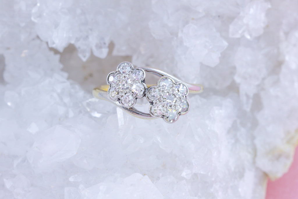 Art Deco 'Toi et Moi' Diamond Flower Cluster Ring (0.5ct)
