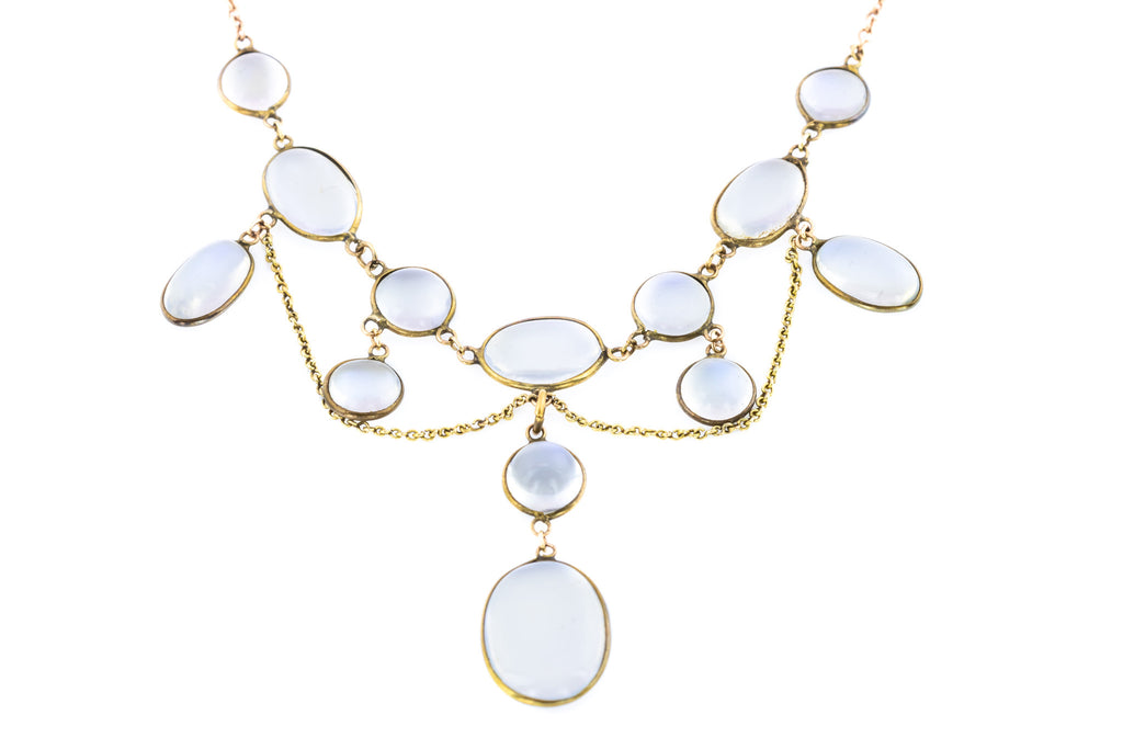 Edwardian Moonstone Necklace with 9ct Gold Chain