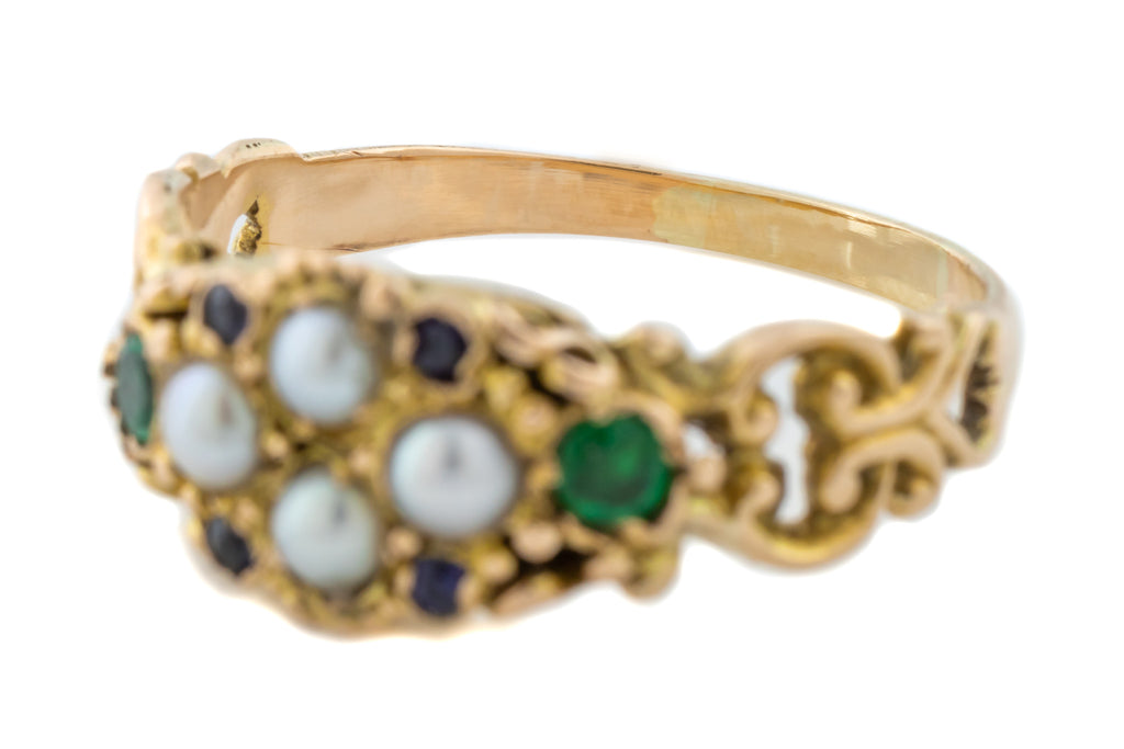 Victorian 18ct Gold Pearl Ring with Paste Gemstones