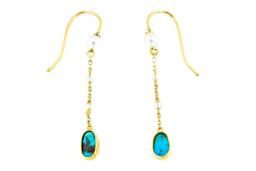 Victorian Pearl and Turquoise Drop Earrings