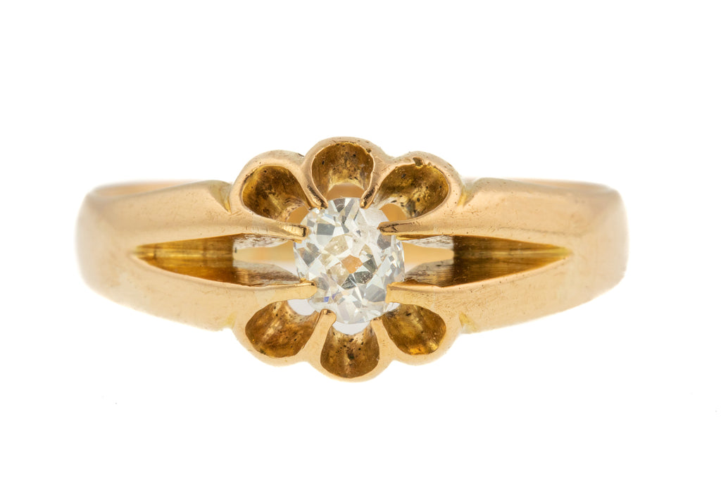 Victorian 18ct Gold 0.20ct Old Mine Cut Diamond Solitaire Ring