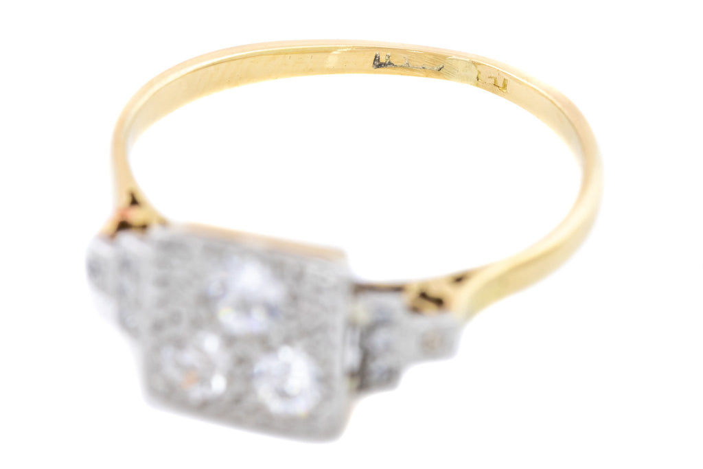 Square Art Deco Diamond Ring in 18ct Gold and Platinum - Trilogy Art Deco Engagement Ring