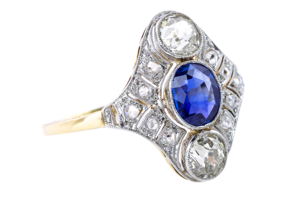 Art Deco Diamond and Sapphire Panel Ring