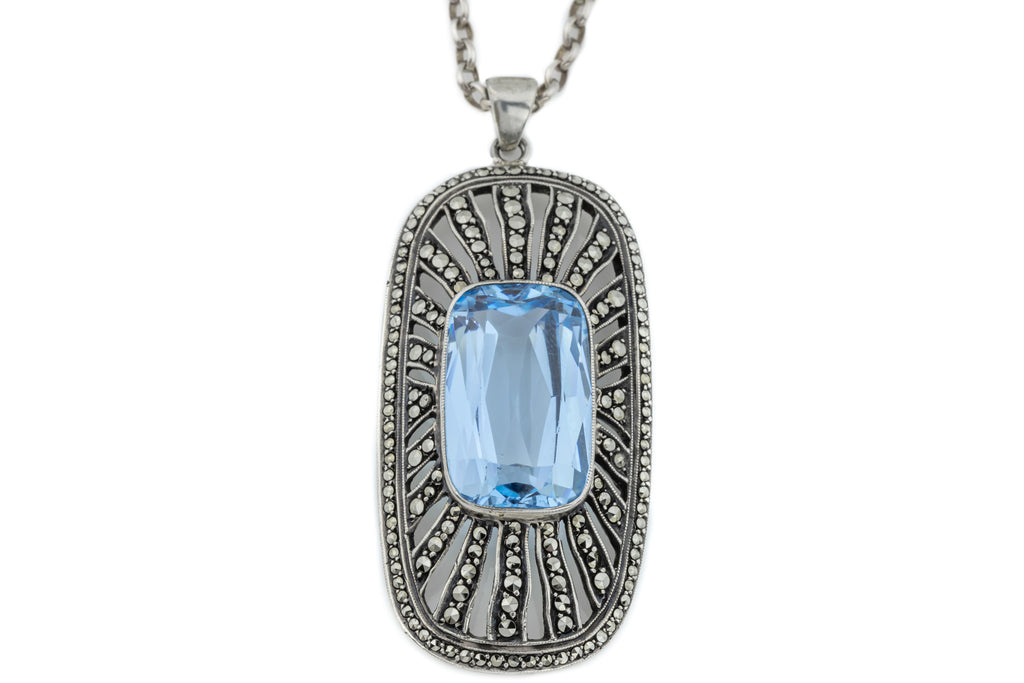 Art Deco Marcasite Aquamarine Paste pendant