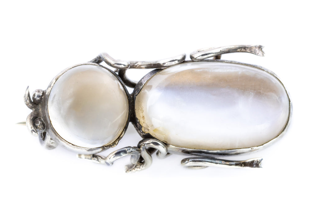 Art Nouveau Silver Insect Brooch with Moonstone Cabochon