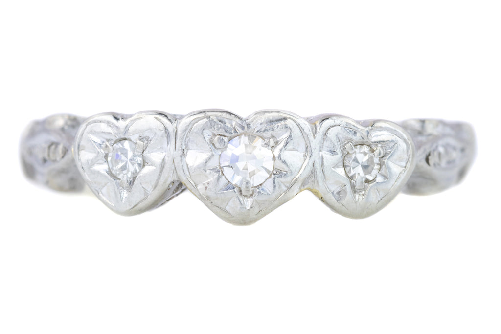 Art Deco Diamond Trilogy Ring in Heart Settings