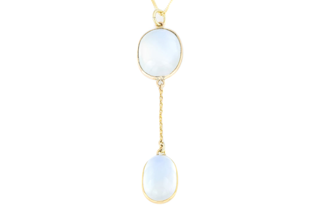 9ct Gold Antique Moonstone Drop Pendant