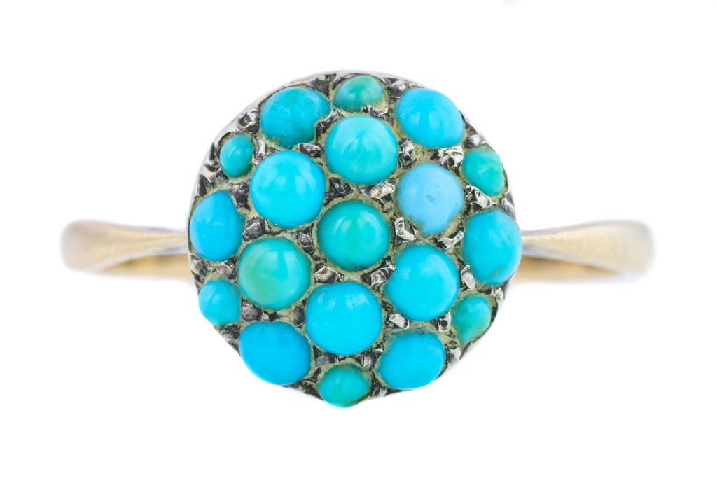 Victorian Turquoise Cluster Ring in 9ct Gold & Silver