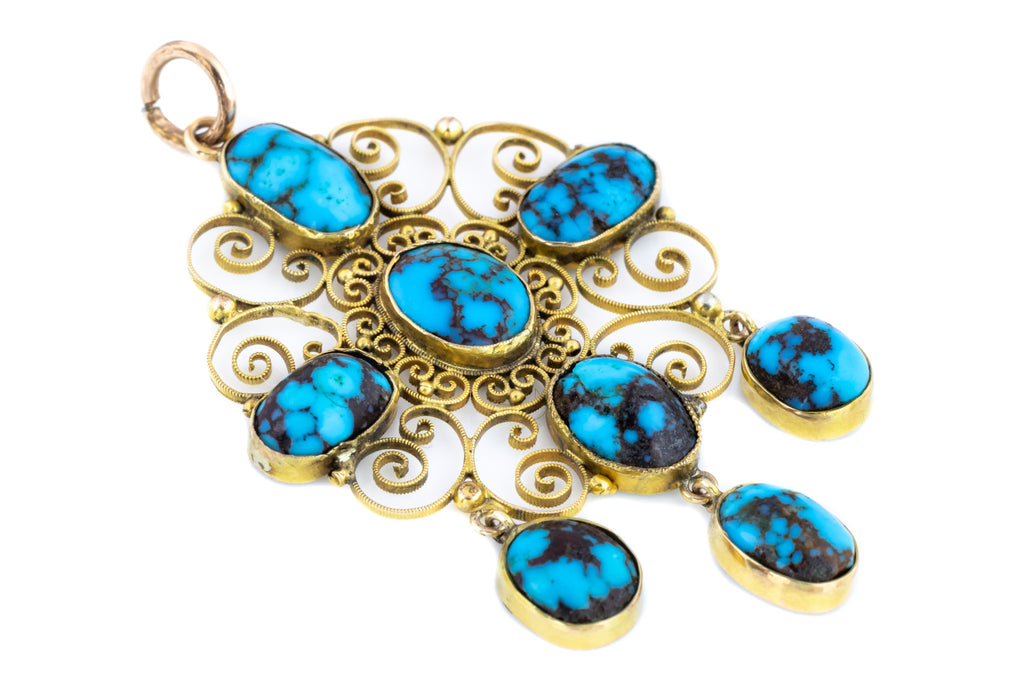 Victorian Turquoise and Gold Filigree Pendant