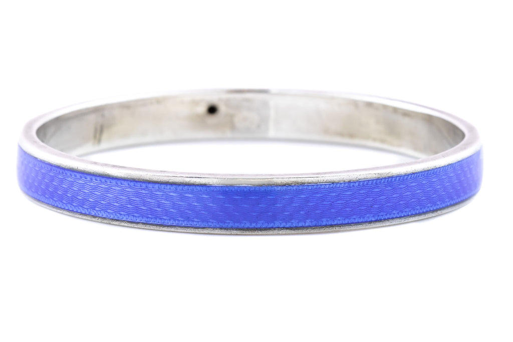 Art Deco Silver Blue Enamel Guilloche Bangle c.1922