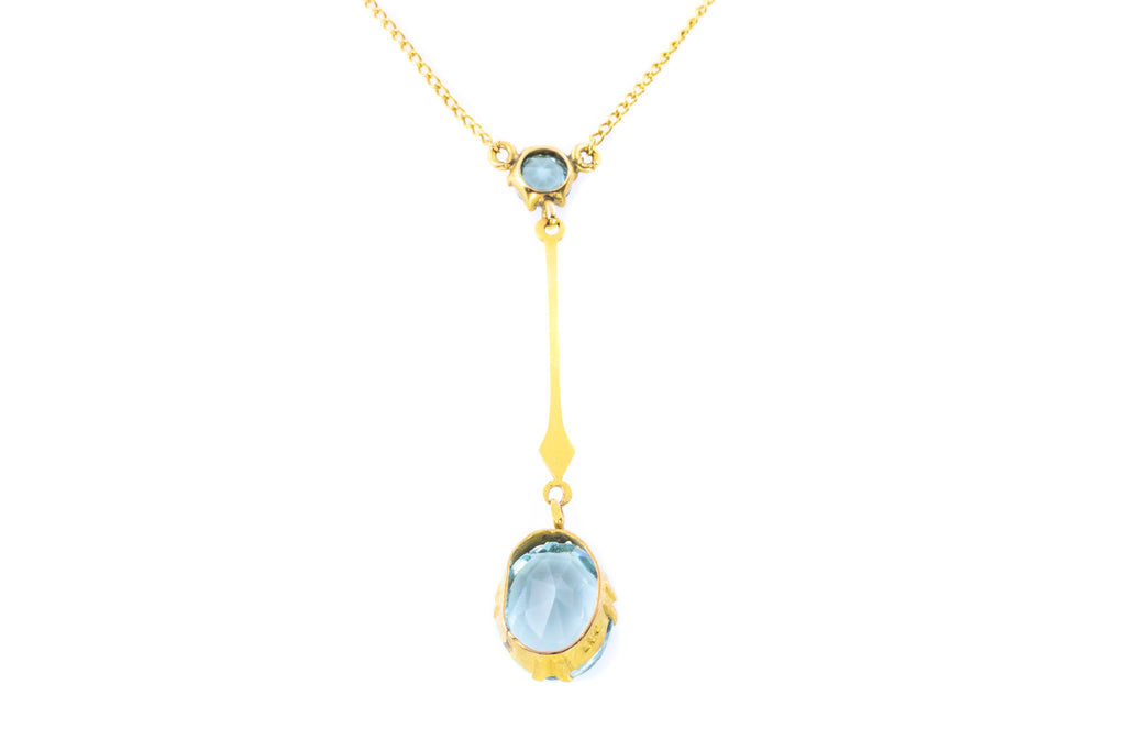 Art Nouveau 9ct Gold Aquamarine Paste Lavalier Pendant