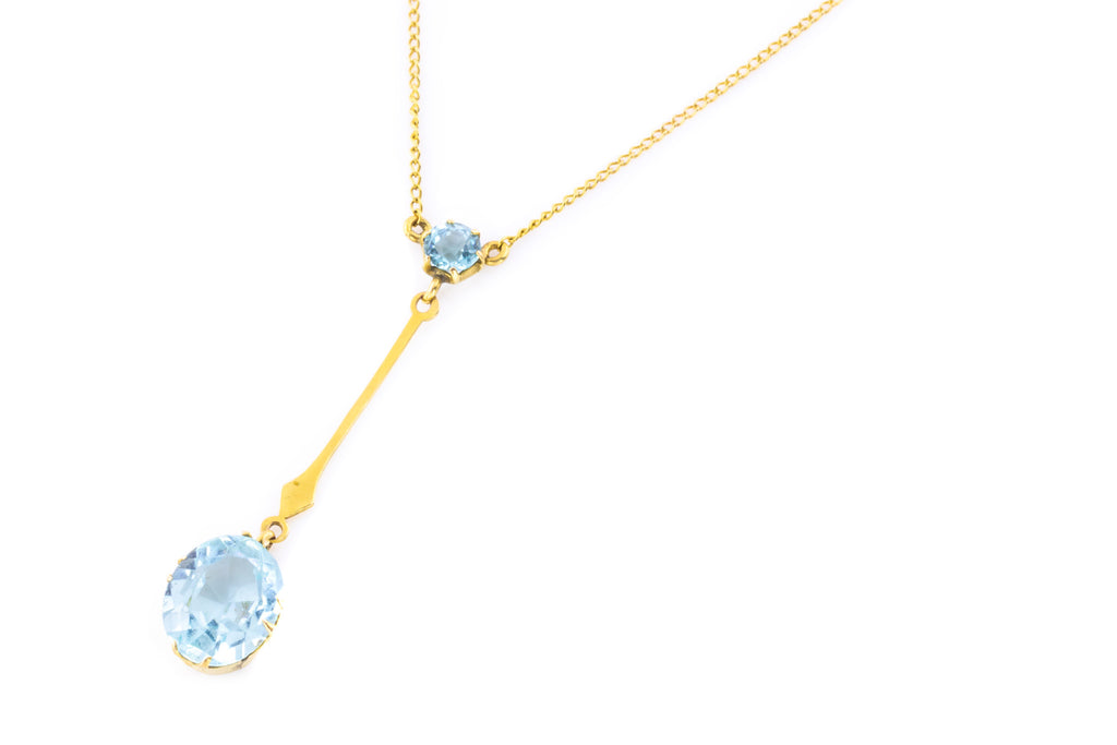 Art Nouveau 9ct Gold Aquamarine Paste Lavalier Pendant, 16""