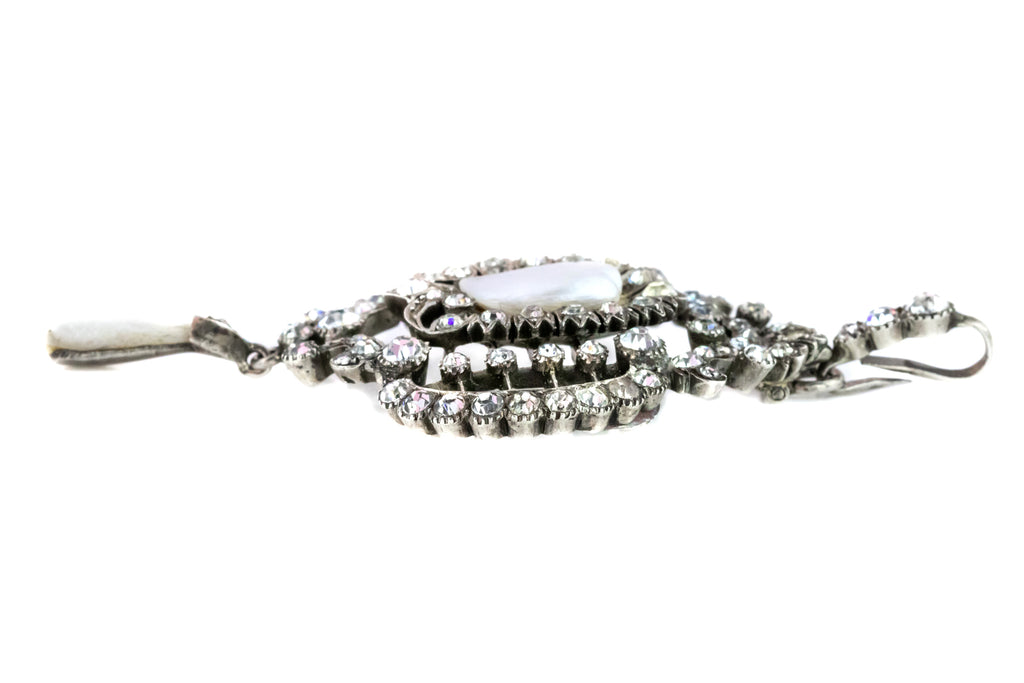 Antique French Paste Silver Pendant with Mississipppi Pearls