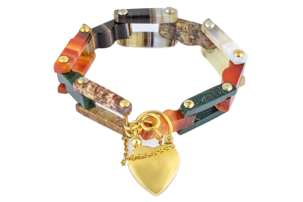 Victorian Scottish Agate Bracelet with Heart Padlock Charm