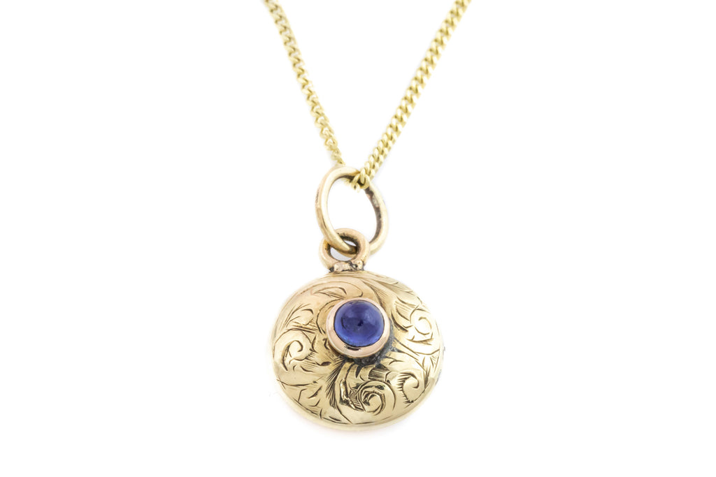Victorian Gold Pendant with Sapphire Cabochon