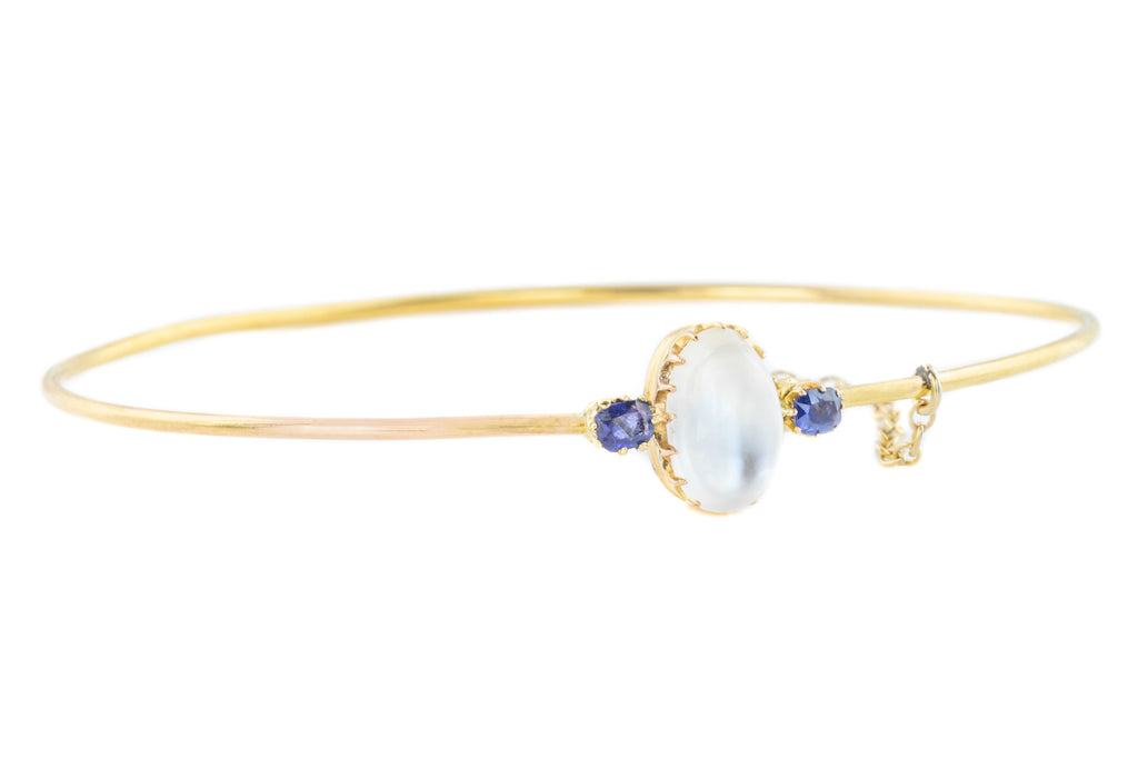 15ct Gold Antique Moonstone Bangle with Natural Sapphires