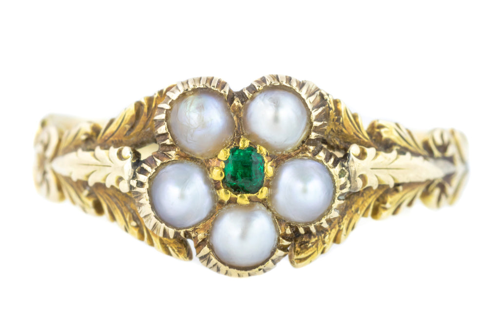 Georgian Pearl Cluster Ring with Natural Table Cut Emerald Centre