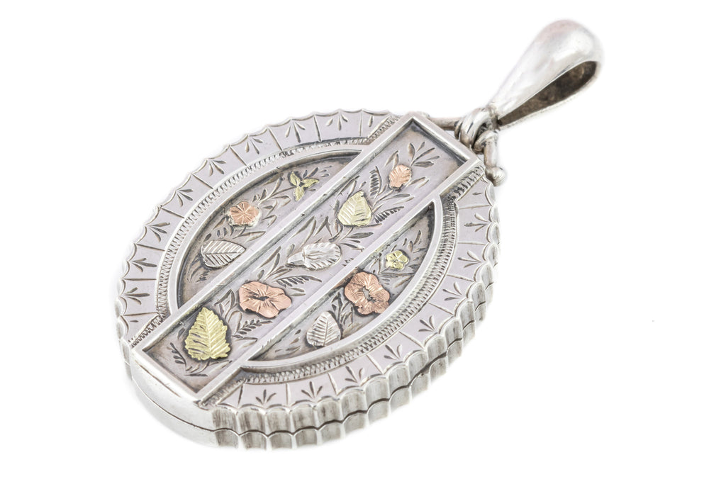 Victorian Aesthetic Silver Locket with Gold Detail c.1881