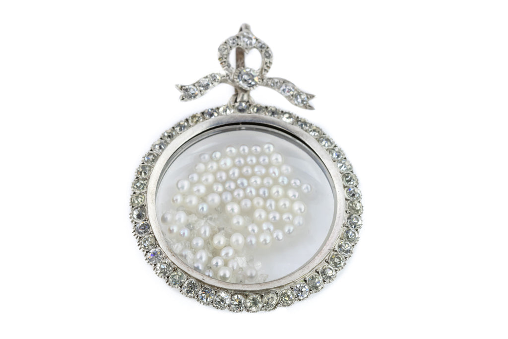 Large Antique Paste Shaker Locket with Rough Diamonds and Pearls