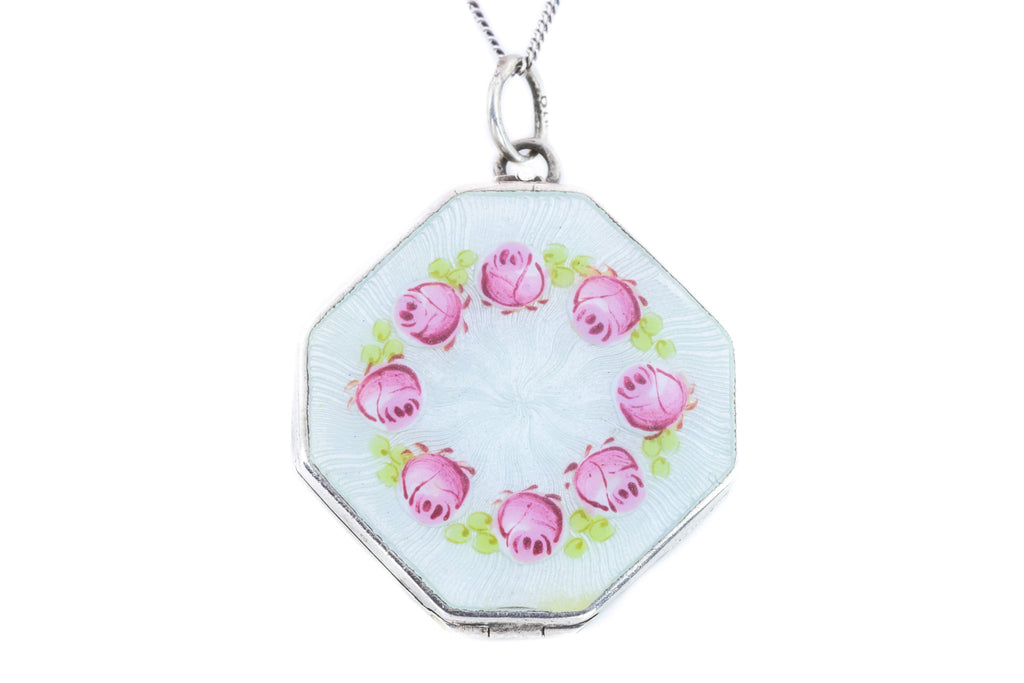 Art Nouveau Enamel Locket with Pink Roses