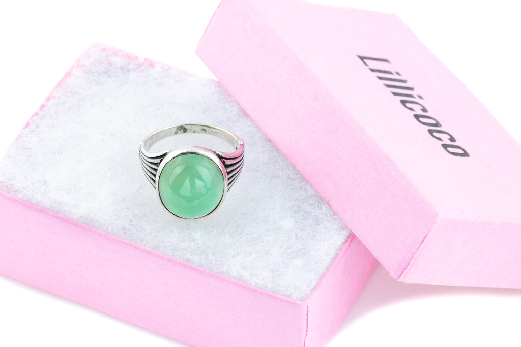 Art Deco Green Chalcedony Silver Ring c.1920