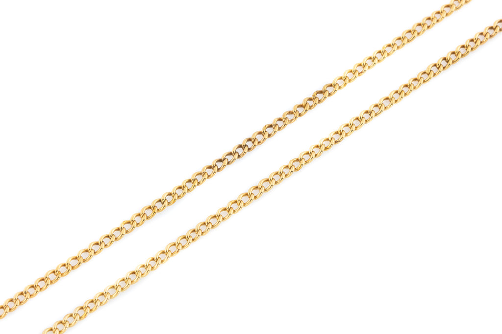 Antique Rose Gold Curb Link Chain Necklace - 4.6g - 23""