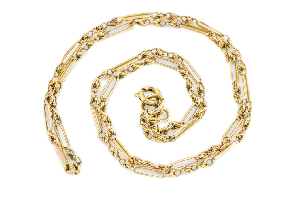 Antique Victorian Solid Gold Chain, 18.5""
