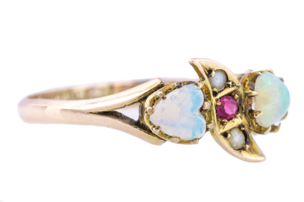 Rare Antique Opal Heart Ring c.1900