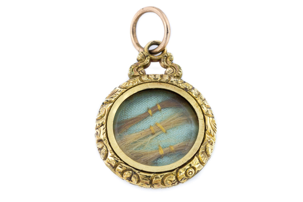 Victorian Mourning Locket, 9ct Gold back & Front