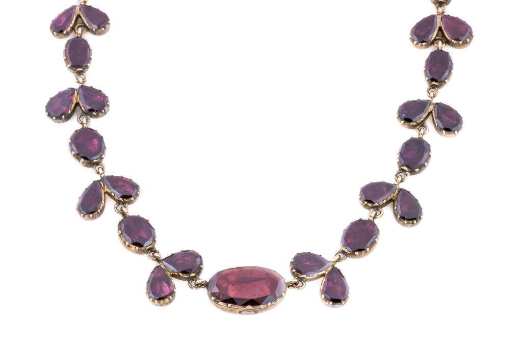 Georgian Garnet Riviere Necklace in 15ct Gold