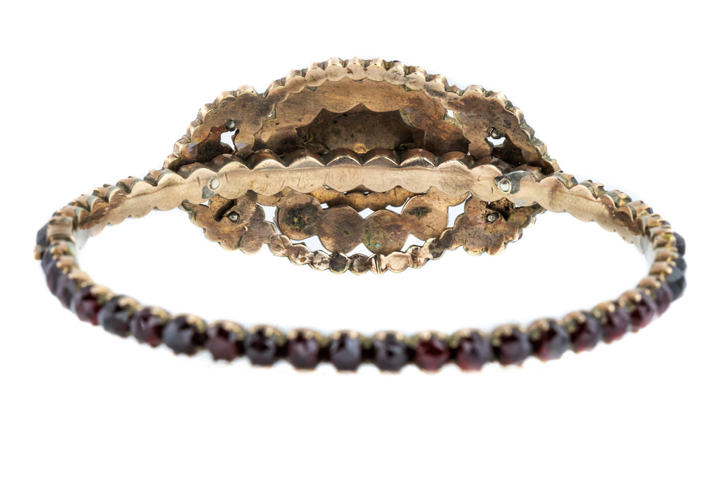 Antique Victorian Garnet Bangle - Bohemian Garnet Cabochon Bangle