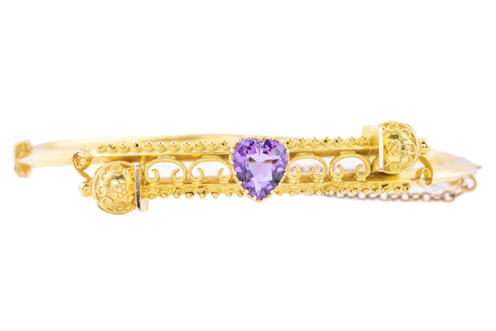 Antique Amethyst Heart Bangle - 15ct Gold Amethyst Bangle
