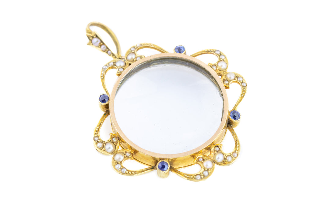 Edwardian Gold Locket with Sapphires and Pearls